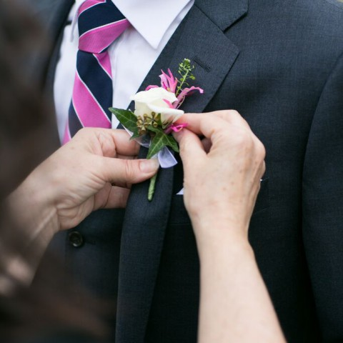 New Leaf Cafe wedding NYC, elegant boutonniere, Rachel Cho Floral Design