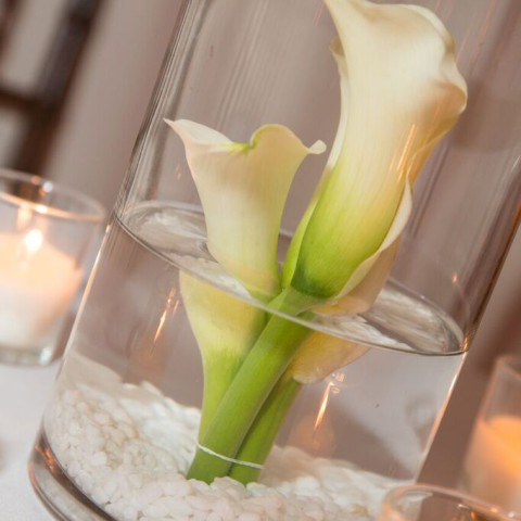 Metropolitan Pavilion NYC wedding, modern floating calla lily, Rachel Cho Floral Design