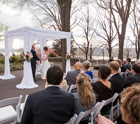 New Leaf Cafe wedding NYC, luxurious chuppah, Rachel Cho Floral Design
