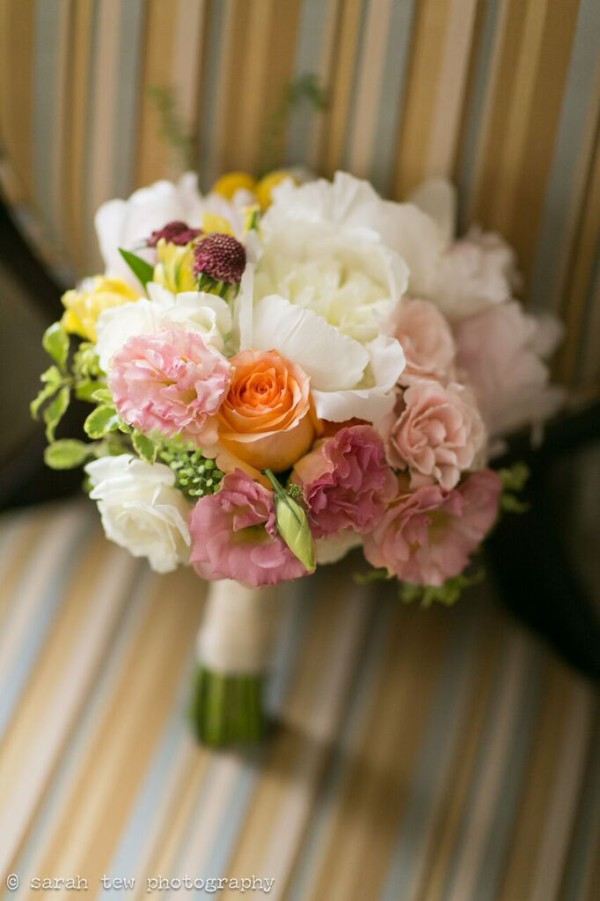 New Leaf Cafe wedding NYC, elegant bridal bouquet, Rachel Cho Floral Design