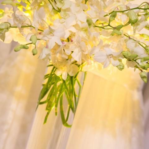 Metropolitan Pavilion NYC wedding, modern ceremony orhcids, Rachel Cho Floral Design