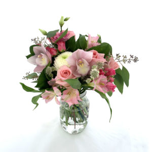 pink bouquet as part of flower ideas for first date
